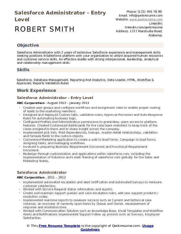 Salesforce Administrator Resume Examples Beautiful Salesforce Administrator Resume Samples Sales Resume Examples Resume Objective Resume Examples