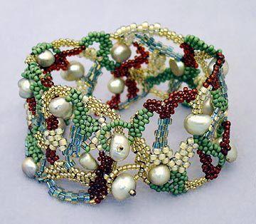 Open Peyote stitch with pearls bracelet  #beadwork