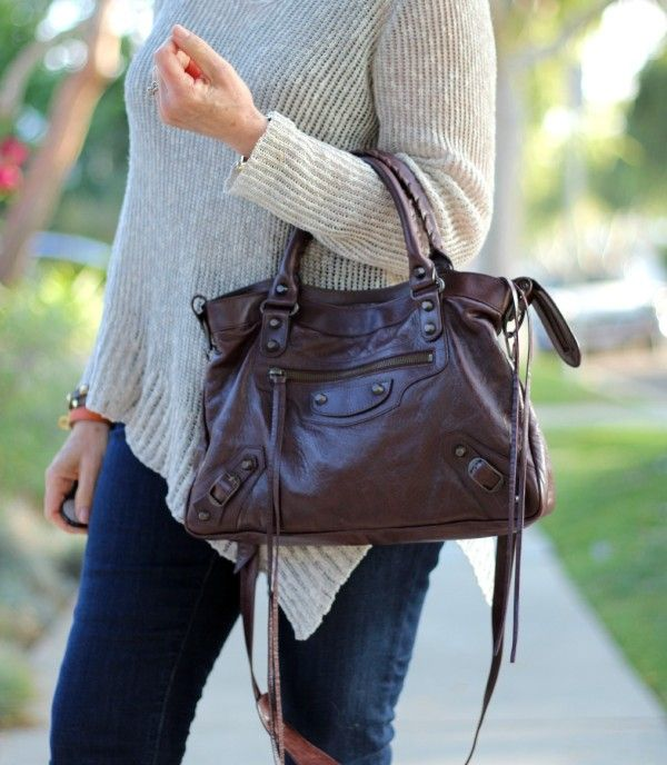 Balenciaga Town bag cigare, moto bag, lariat bag, skinny jeans, Adea tank, Eileen Fisher v-neck sweater