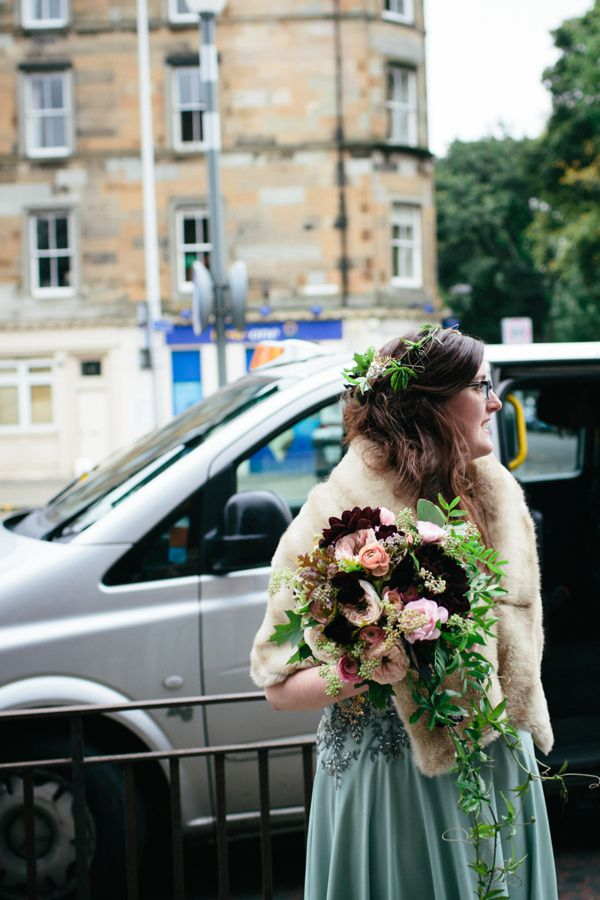 Black dahlia wedding bouquet and pale green wedding dress with a bride wearing a floral crown http://www.caroweiss.com/
