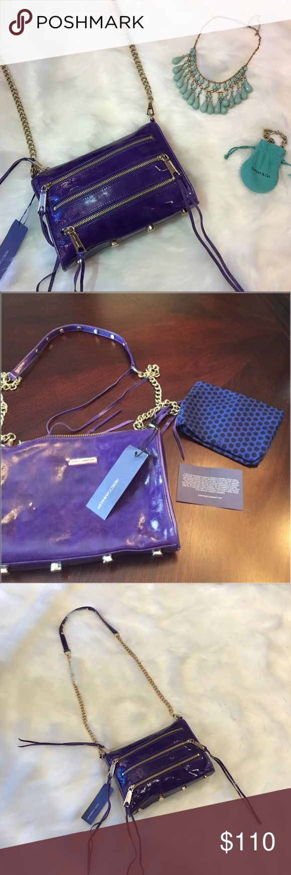 NWT Rebecca Minkoff Mini 5 Zip Purple Purse BRAND NEW! 100% Authentic! Rebecca Minkoff Mini Five Zip Crossbody Bag! Beautiful purple color called grape! Only the bag and dust bag is included in purchase! Retail price is $195! NO TRADES! Make an offer 😊 Rebecca Minkoff Bags Crossbody Bags