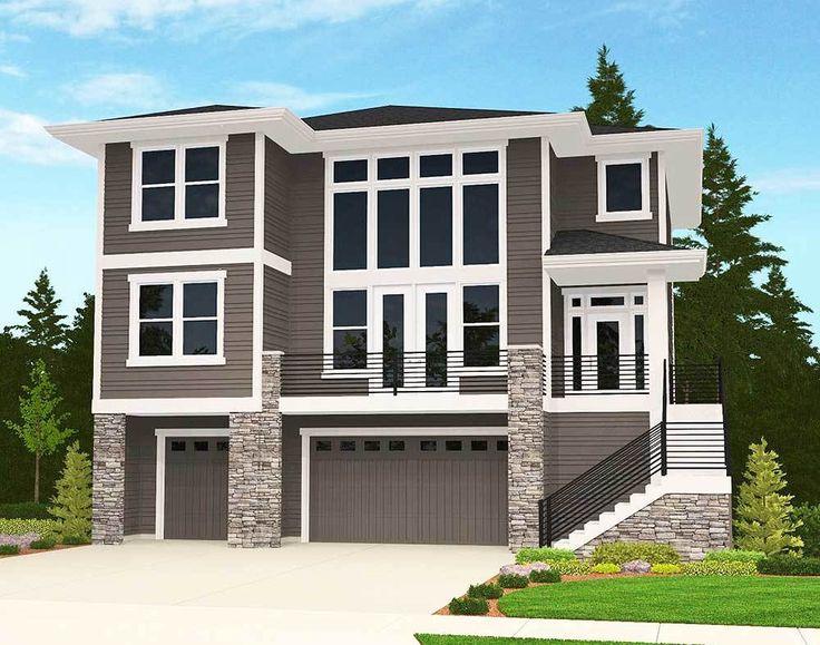 Garage Under House Plans: 32 Best Tuck Under Garage Houses Images On Pinterest