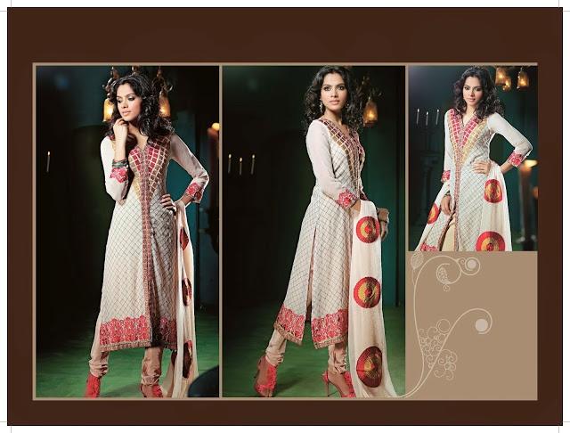 Elegant Fuchsia & White Salwar Kameez | StylishKart.com