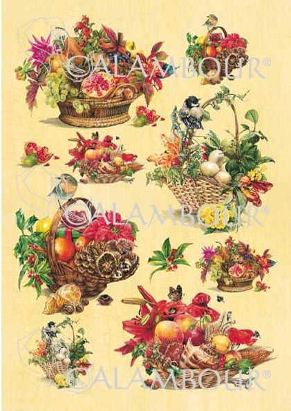 Cal 98 Four seasons baskets with colourful flowers and fruits, small birds, little animals and grape