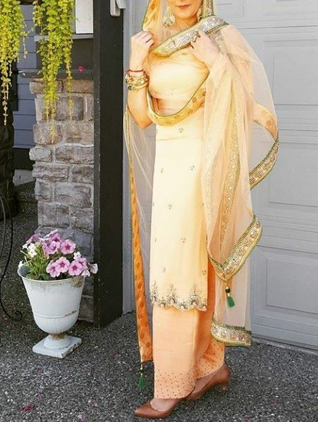 Light shade#heavy work # net dupatta gracefully carried by punjabi girl perfect for summers occasion punjabi suit