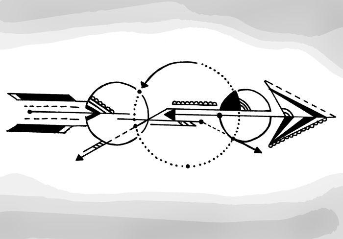 arrow tattoo design geometric dotwork circle bow mathematic poland lace