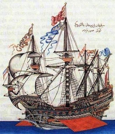"""Göke"":  an Ottoman war ship of the 'kalyon' type.  Ca. 1500.  Miniature taken from Katip Celebi's manuscript Tuhfetü'l-kibar. (Topkapi Palace Library)."