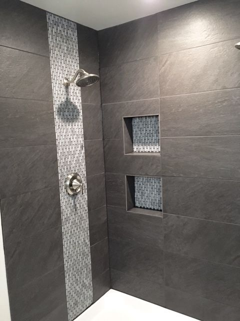 Shower With Large Field Tile Mosaic Tile Used For