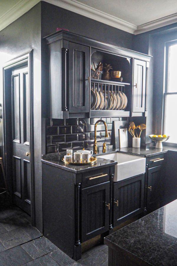58 Top Best Black Kitchen Cabinet Design Ideas Page 2 Of 58 My Home Design Blog Cheap Kitchen Cabinets Black Kitchens Dark Kitchen