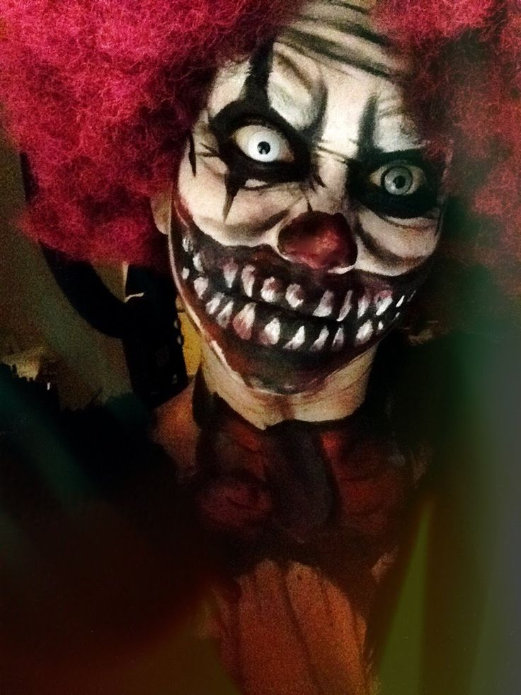 Scary Clown Halloween makeup tutorial                                                                                                                                                                                 More