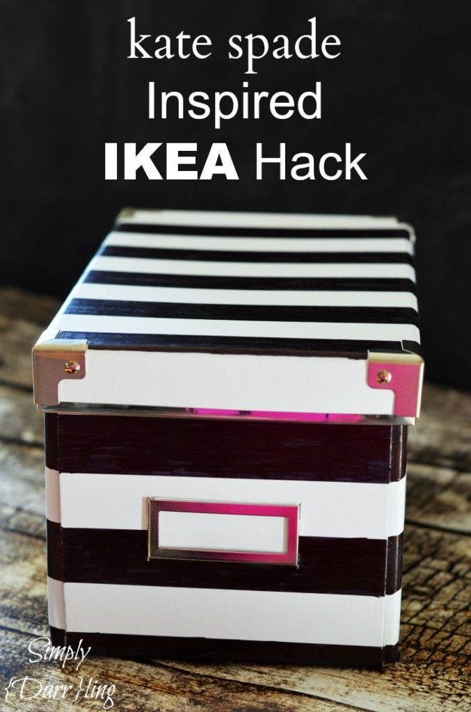 Kate Spade Inspired Ikea Hack using IKEA KASSET boxes (come in variety of sizes & colors). She used sharpie, but think of the endless things you could create with paper, paint, stencils, colors. These boxes (med. size) are 2 for $1.99.