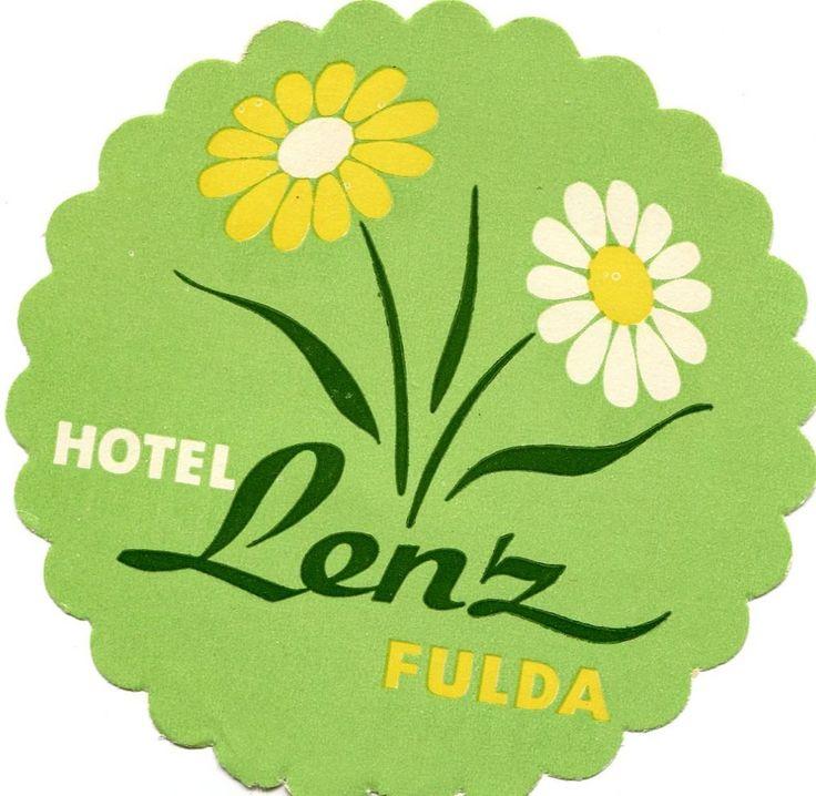 Fresh Vintage Hotel Luggage Label HOTEL LENZ Fulda Germany DAISY die cut