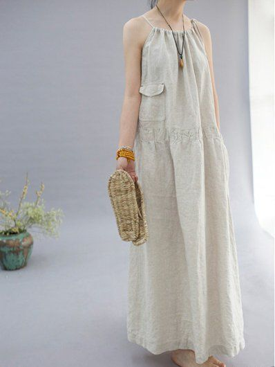 64fa8b08f9 Buy Linen Dress For Women from VIVID LINEN at Stylewe. Online Shopping  Stylewe Spaghetti A-line Daytime Dress Spaghetti Cotton Pockets Solid Dress