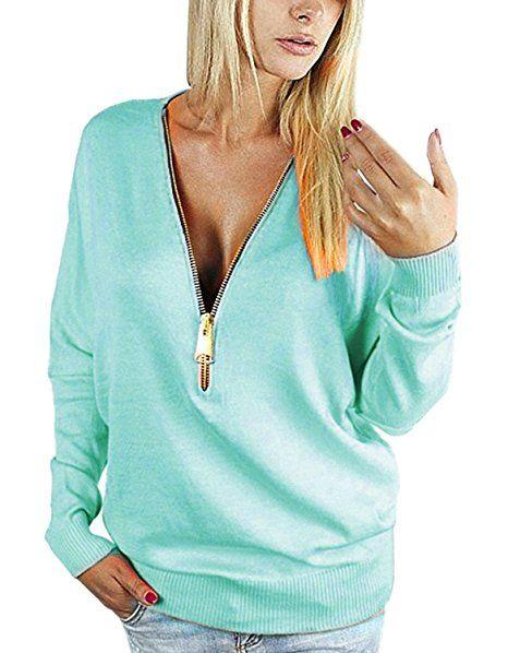 Yidarton Damen Langarmshirt Elegant Sweatshirt Bluse Mit