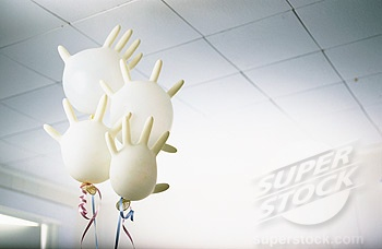 Helium-filled Medical Glove Balloons