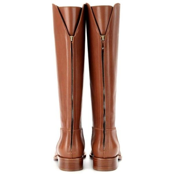 Wellington leather knee boots Loro Piana (€1.315) ❤ liked on Polyvore featuring shoes, boots, leather wellington boots, real leather boots, knee high rain boots, shiny leather boots and knee boots