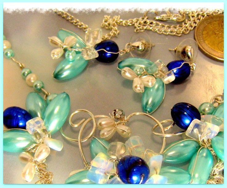 Boucles d'oreilles Elegance, filigrané, en perles naturales Royal Blue et Opale…