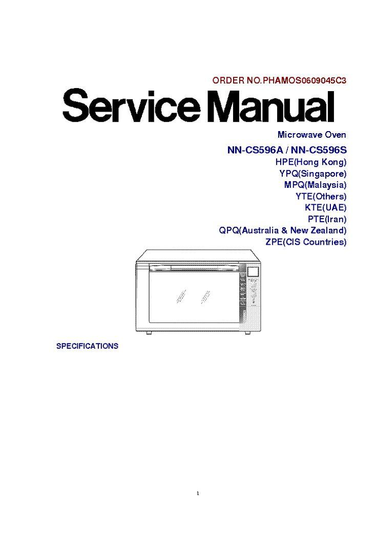 PANASONIC NN-CS596A NN-CS596S Service Manual free download