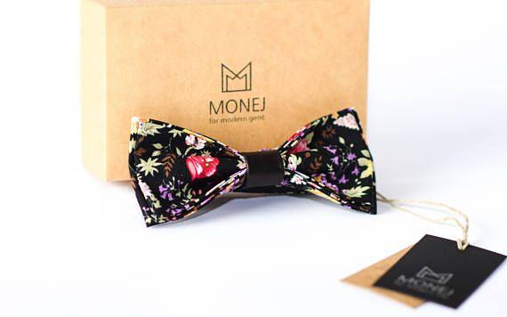 Black Bow Ties- Flower Bow Tie- Mens Gift- Vintage Bow Tie- Father Gift- Wedding Bowties- Groom Bowtie- Groomsmen Bowtie- Custom bow tie