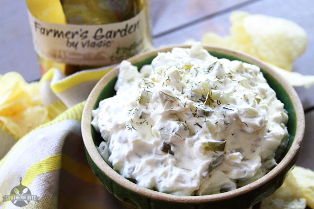 This Dill Pickle Dip is a great cool and creamy addition to any summer barbecue!