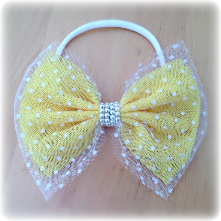 Yellow White Tulle Polka Dot Headband Hair Bow Band Fits Babies Toddlers Pearl center Photography Prop. $10.99, via Etsy.
