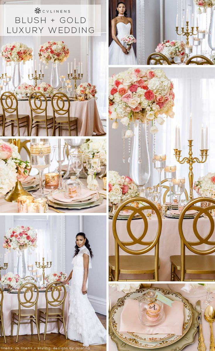 Wholesale Wedding Table Linens Add blush and gold to the tablescapes of your special day with wholesale  wedding linens! Table linens are a constant at any wedding venue, and many  people ...