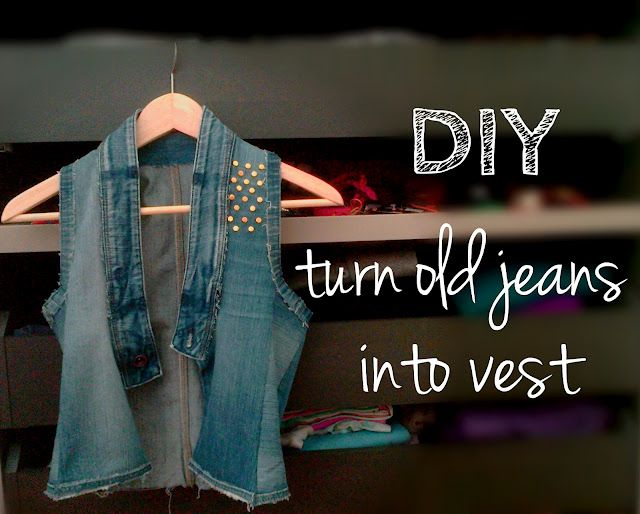 DIY turn old jeans into vest. Did something similar with a long (knee length) lightweight coat.