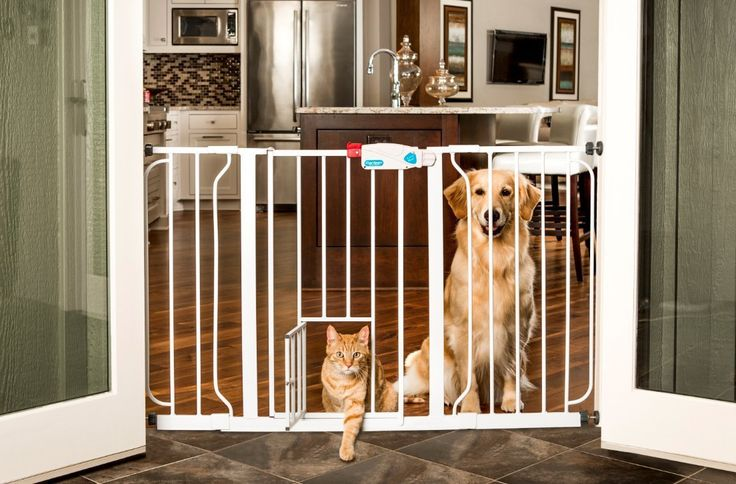 Extra Wide Baby gate with Pet Door up to 4 feet in width