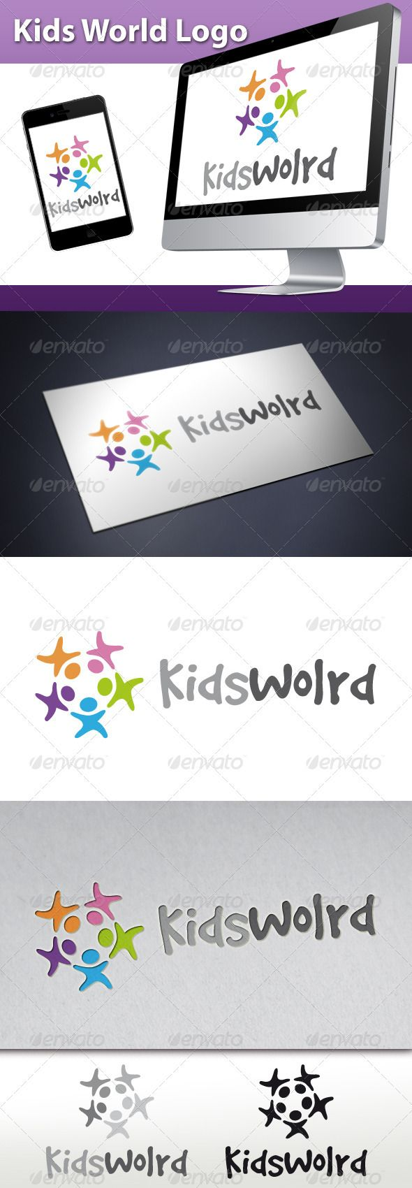 Kids World Logo  #GraphicRiver         - Three color version: Color, greyscale and single color.  - The logo is 100% resizable.   - You can change text and colors very easy using the named and organized layers that includes the file.   - The typography used is GoodDog you can download here:  .fontsquirrel /fonts/GoodDog       Created: 23October12 GraphicsFilesIncluded: VectorEPS #AIIllustrator Layered: Yes MinimumAdobeCSVersion: CS Resolution: Resizable Tags