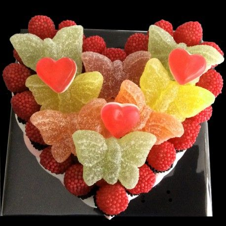 Butterfly Heart cakes available in various sizes, all handmade to order 100% sweets