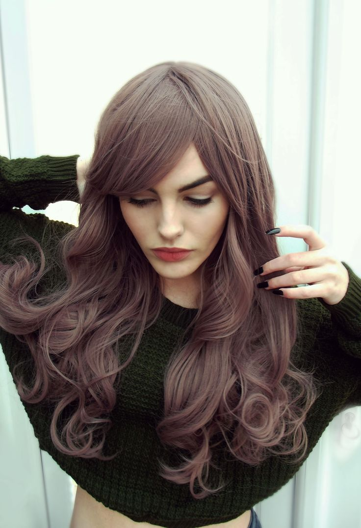 Dusky Lilac Brown Wavy Curls Natural Gothic Lolita Cosplay Lush Wig - Worldwide Tracked Delivery