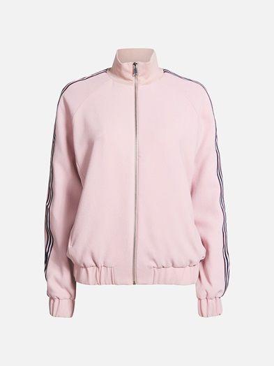 High neck track jacket with stripy details along the sleeves. Zipper closing.  Vaalea pinkki