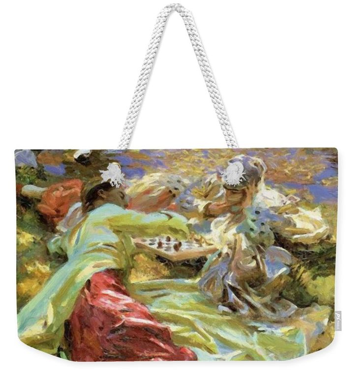 The Weekender Tote Bag featuring the painting The Chess Game by Sargent John Singer