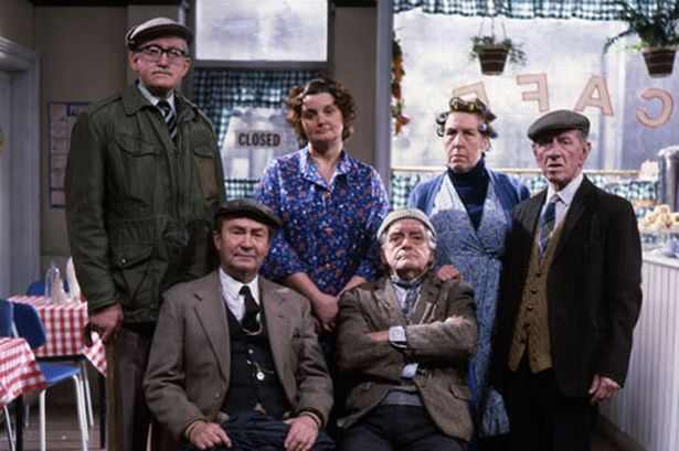 Last Of The Summer Wine (BBC) Foggy, Ivy, Nora and Wally Batty ( back ), Clegg and Compo (front). ....( Brian Wilde, Jane Freeman, Kathy Staff, Joe Gladwin, Peter Sallis and Bill Owen)
