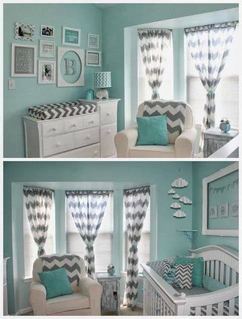 turquoise and gray for a baby boy.... Too much color maybe half walls with paneling