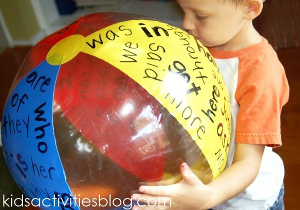 Ways to use a sight word ball - If student is already reading, have them read the words on the color they catch. If student knows all the words, have them create a sentence with as many words as they can from the color they picked.