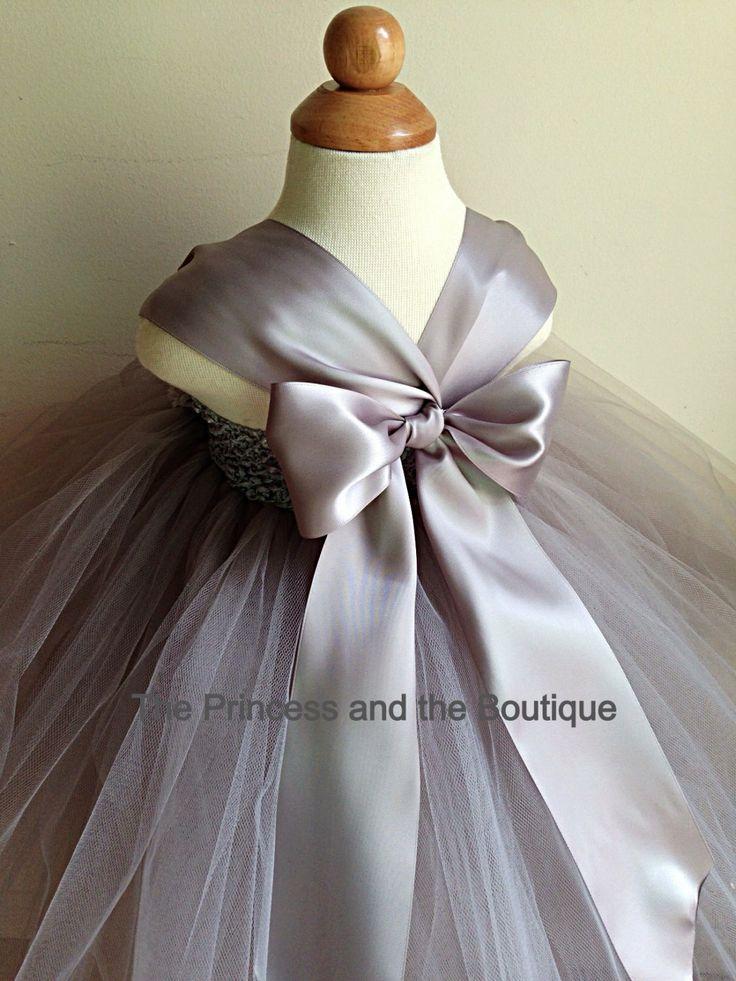 Flower girl dress gray tutu dress  by Theprincessandthebou on Etsy, $65.00