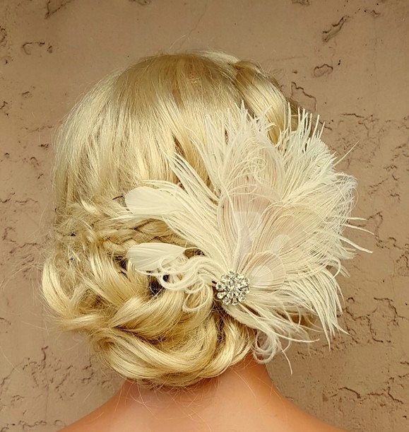Feather Hair Clip, Feather Fascinator, Wedding Hair Accessories, Bridal Hair Fascinator,Vintage Style Fascinator, Great Gatsby, Bridal Comb, by kathyjohnson3 on Etsy