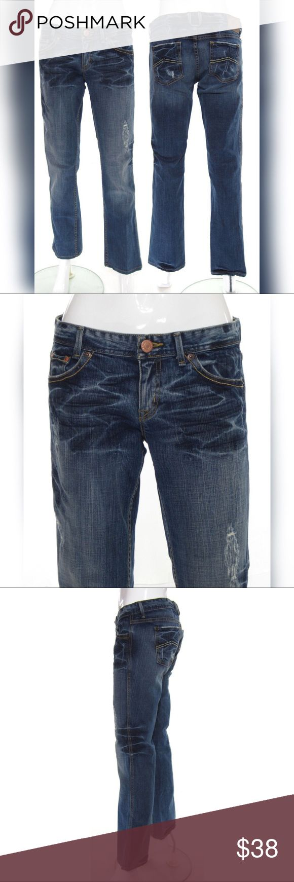 "Armani Exchange Distressed Jeans 8 Fits 6 Featuring a low 8 1/8"" rise and a slim straight cut through the leg. Wash is called Light Destroy, a medium blue featuring intense intentional fading/whiskering/wash effects and distressing throughout.   98% Cotton 2% Spandex-high quality stretch denim! Made in the USA!   Tagged as a ladies size 8 but these run a full size small and would be best suited for a true contemporary US ladies size 6/28"" (Small). Hemmed to an inseam length of 29 3/4""…"