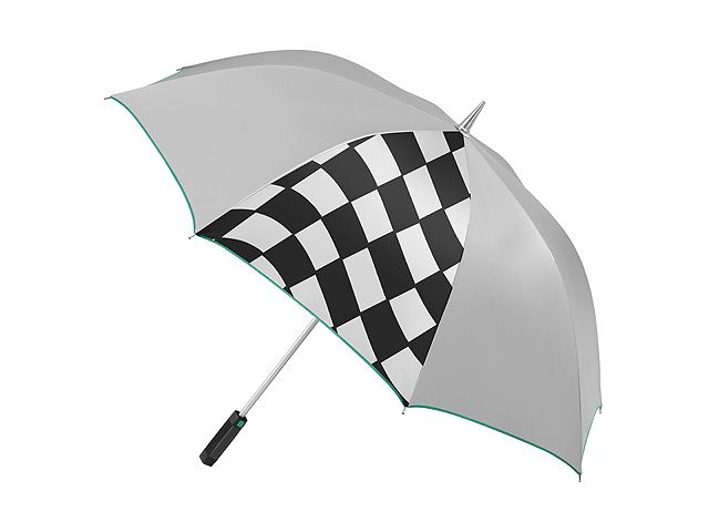 Part number:     B67995079  A homage to the Silver Arrows: this guest umbrella has an attractively sporty design in shimmering silver.  One of the polyester canopy panels features a classic chequered flag design.  The entire canopy has an easy-care, water and dirt-repellent Teflon® coating.  The specially-coated plastic handle features a centre section made from genuine carbon fibre and a release button in classic Petronas green.