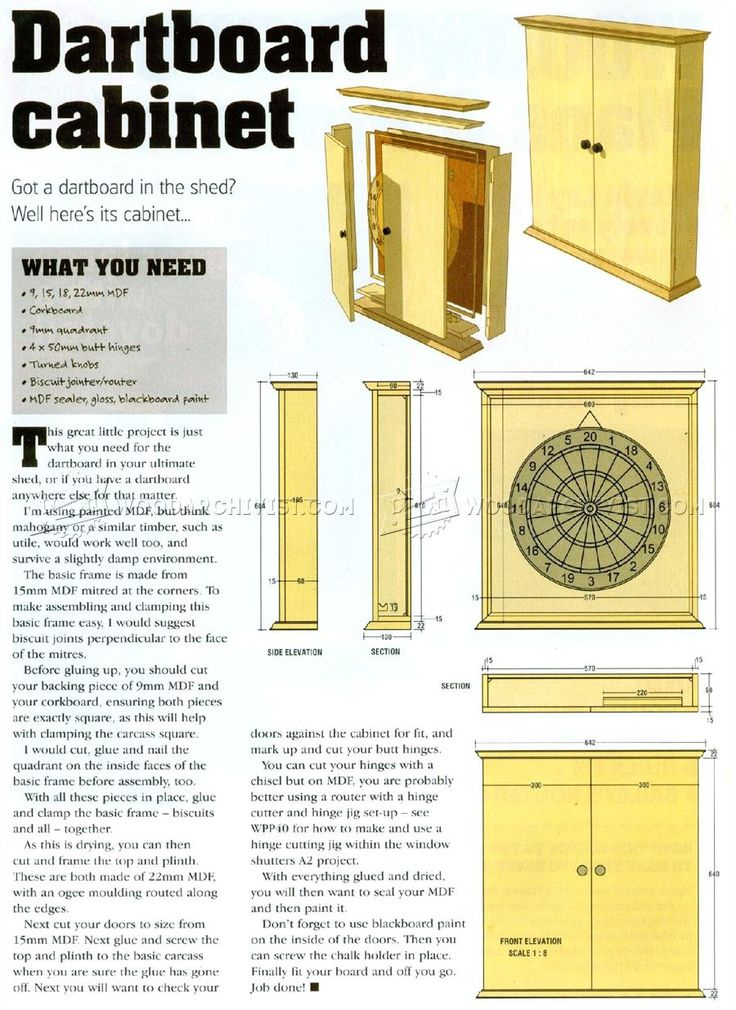 #103 Dartboard Cabinet Plans - Other Woodworking Plans and Projects | DIY/Home Workshop ...