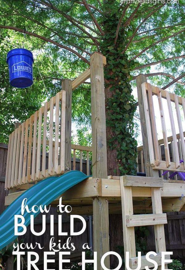 Diy Cool Kids Pallet Tree House Tree House Plans Pallet
