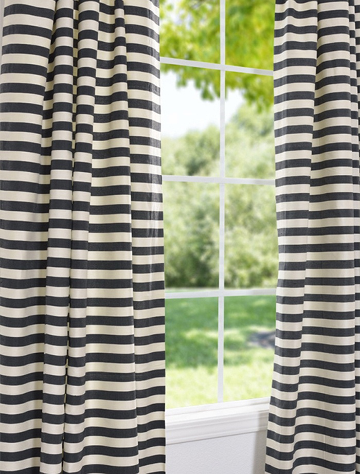Black And Cream Shower Curtain Taupe and Cream Striped