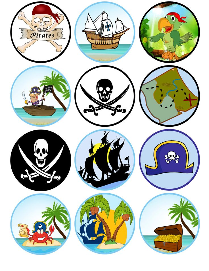 Pirate Cupcake Toppers Printable Pirate Theme by TSNDigitalDesigns