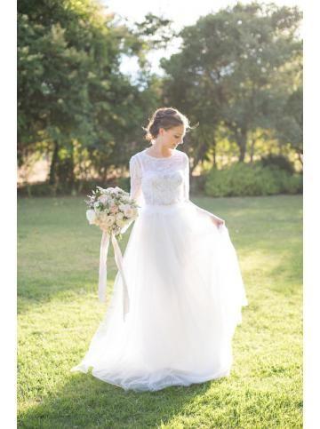 Robe de mariage tulle princesse manche longue