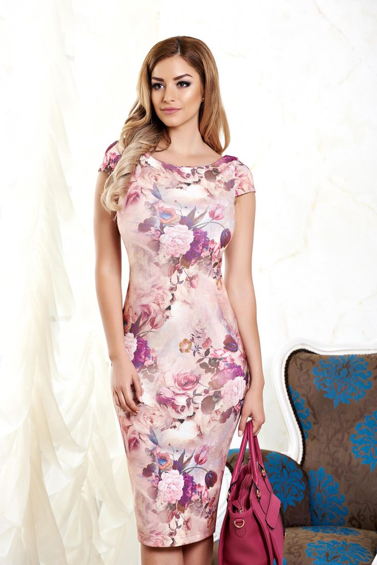 StarShinerS Paradise Dream Rosa Dress, floral prints, form-fitting, back zipper fastening, elastic fabric