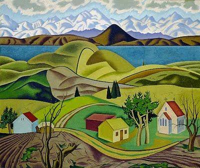 Central Otago 1940 - Rita Angus (1908 - 1970)  New Zealand https://www.facebook.com/HaHaMedia