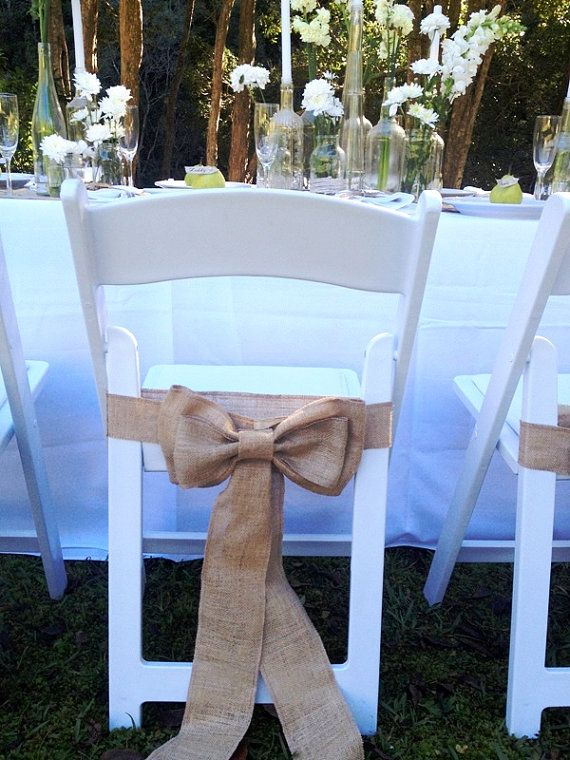 Burlap chair sash - Rustic wedding i wonder if we can make this work with the purple ones.
