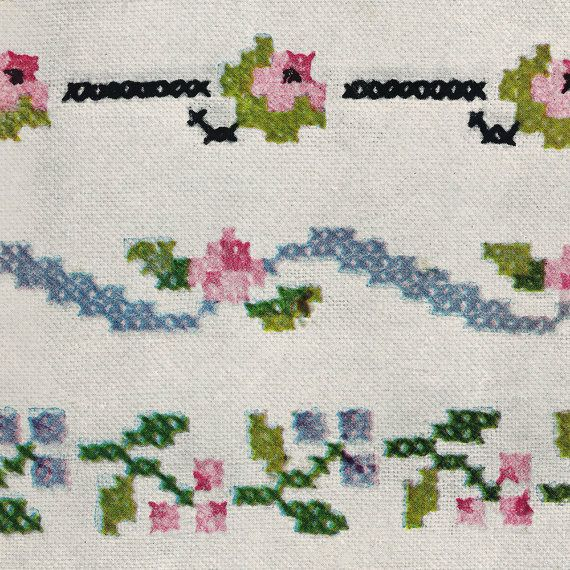 """Traditional Cross-Stitch! Vintage ©1945 Simplicity Embroidery Transfer 7124, """"Dainty Cross Stitch Bandings"""" Delicate Flowers, Petals & Roses"""