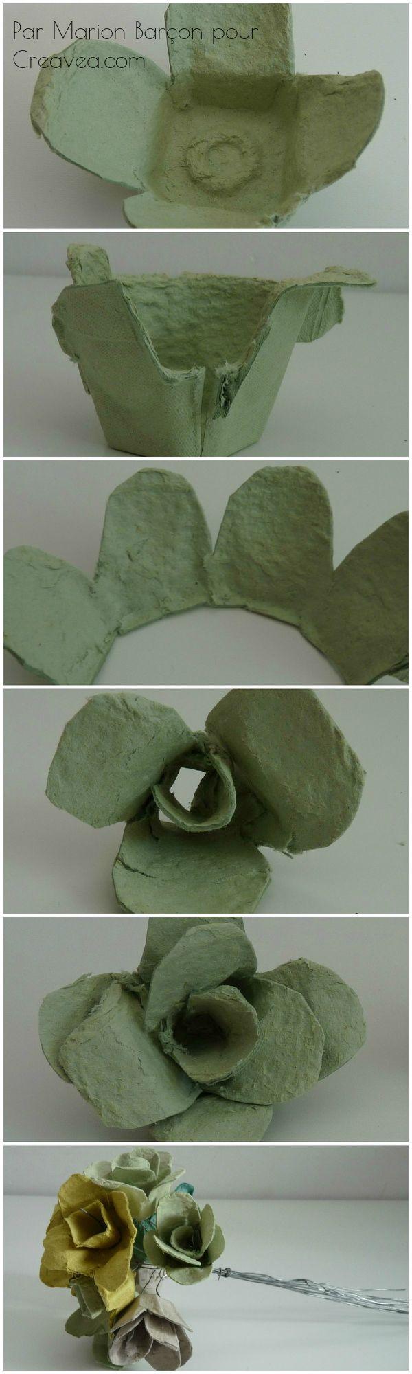 Tuto pour faire un bouquet de fleurs à partir de boîtes d'oeufs pour la fête des mères (ou des grands-mères). Explications détaillées en français sur le site Creavea.com